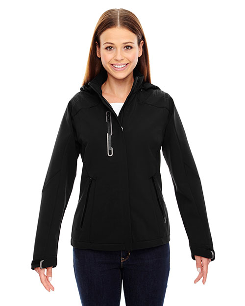 North End 78665 Women Axis Soft Shell Jacket with Print Graphic Accents at GotApparel