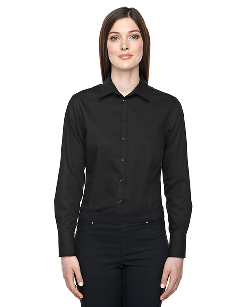 North End 78673 Women Boulevard Wrinkle-Free Two-Ply 80 Cotton Dobby Taped Shirt With Oxford Twill at GotApparel