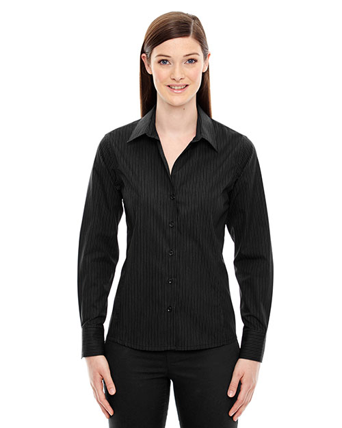 North End 78674 Women Boardwalk Wrinkle-Free Two-Ply 80 Cotton Striped Tape Shirt at GotApparel