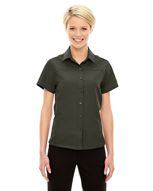 North End 78675 Women Charge Recycled Polyester Performance short sleeve Shirt at GotApparel