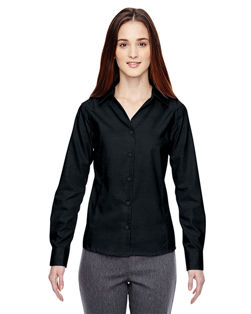 North End 78690 Women Precise Wrinkle-Free Two-Ply 80 Cotton Dobby Taped Shirt at GotApparel