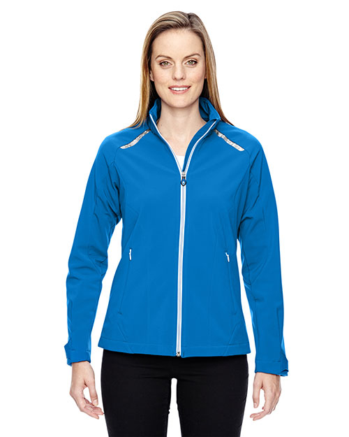 North End 78693 Women Excursion Soft Shell Jacket with Laser Stitch Accents at GotApparel