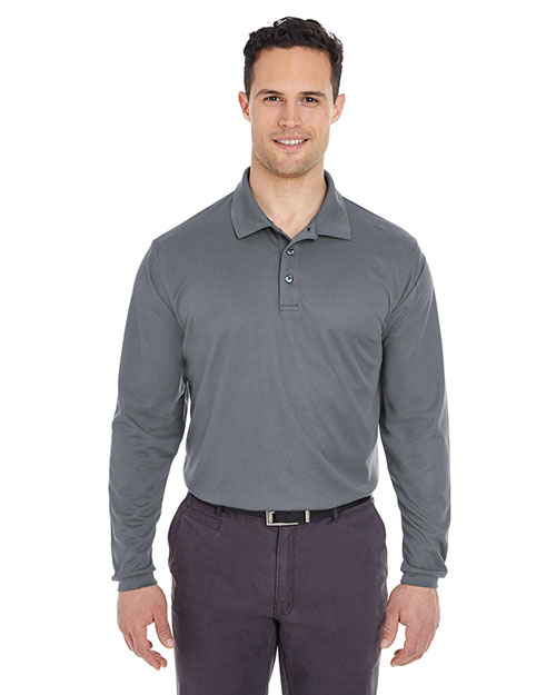 Ultraclub 8210LS Men Cool & Dry Long-Sleeve Mesh Pique Polo at GotApparel
