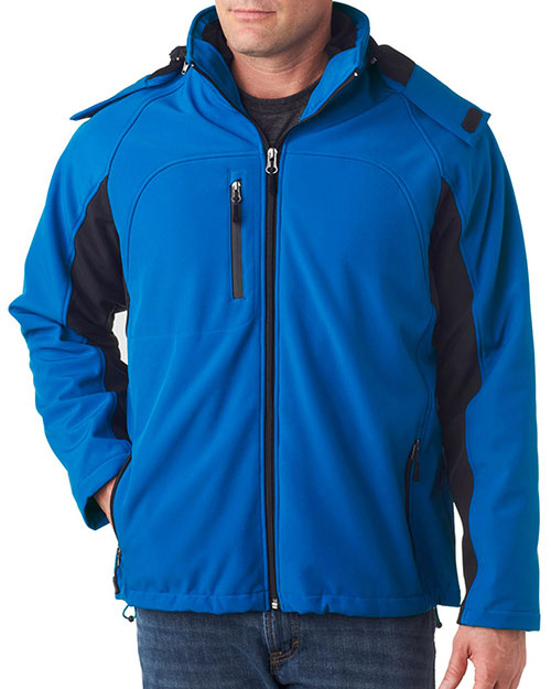 UltraClub 8290 Men Color Block 3-in-1 Systems Hooded Soft Shell Jacket at GotApparel