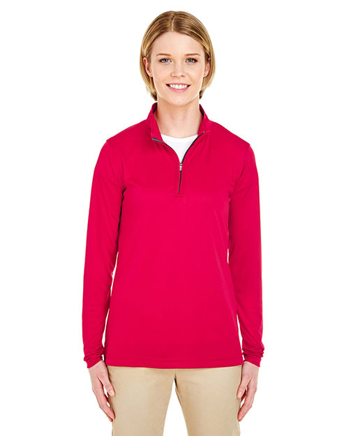 UltraClub 8424L Women Cool & Dry Sport Performance Interlock 1/4-Zip Pullover at GotApparel
