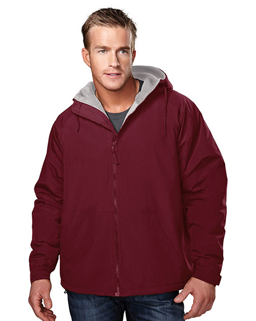 Tri-Mountain 8480 Men Conqueror Nylon Hooded Jacket With Fleece Lining at GotApparel