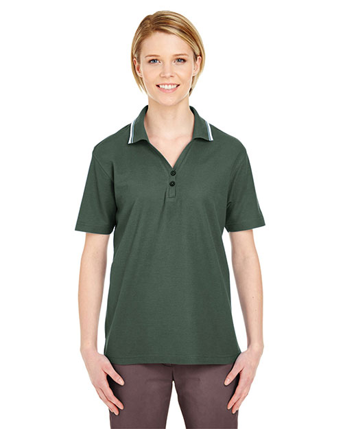 Ultraclub 8546 Women Shortsleeve Whisper Pique Polo With Tipped Collar at GotApparel