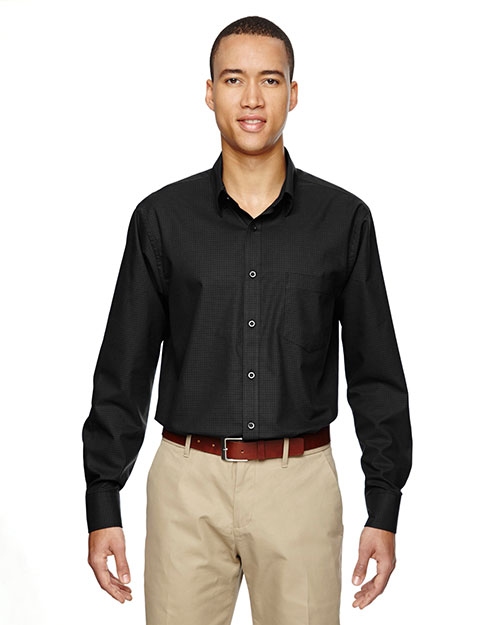 North End 87043 Men Paramount Wrinkle-Resistant Cotton Blend Twill Checkered Shirt at GotApparel