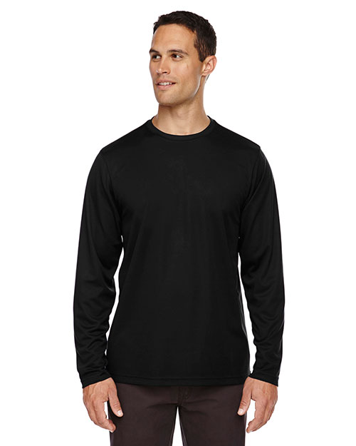 Core 365 88199 Men Agility Performance Long-Sleeve Pique Crew Neck at GotApparel