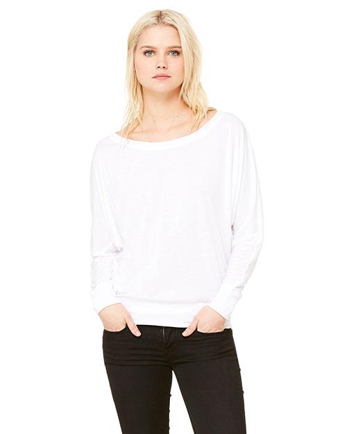 Bella + Canvas 8850 Women Flowy Long-Sleeve Off Shoulder T-Shirt at GotApparel