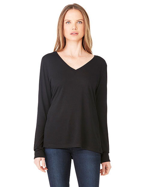 Bella + Canvas 8855 Women Long-Sleeve Flowy V-Neck at GotApparel