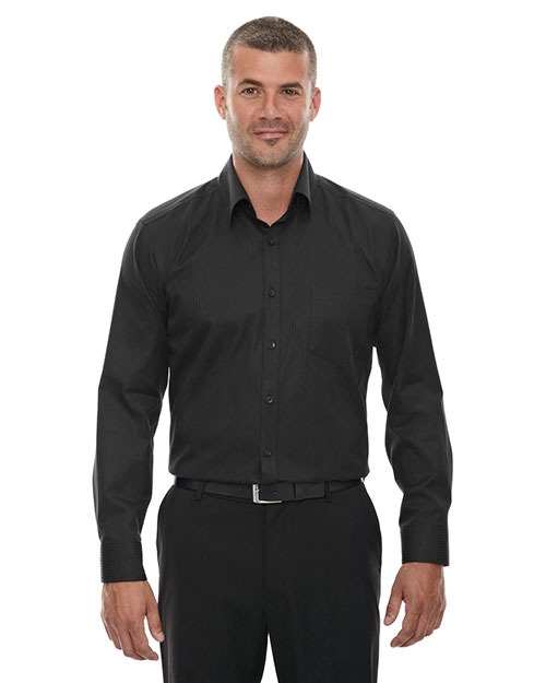 North End 88646 Men Wrinkle-Free Two-Ply 80s Cotton Taped Stripe Jacquard Shirt at GotApparel