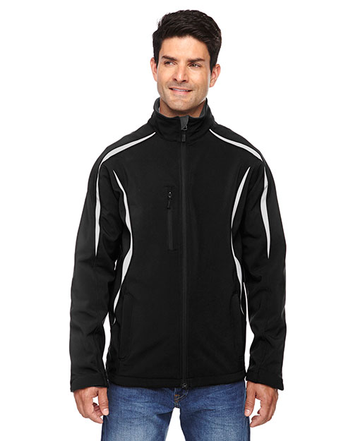 North End 88650 Men Enzo Colorblocked Three-Layer Fleece Bonded Soft Shell Jacket at GotApparel