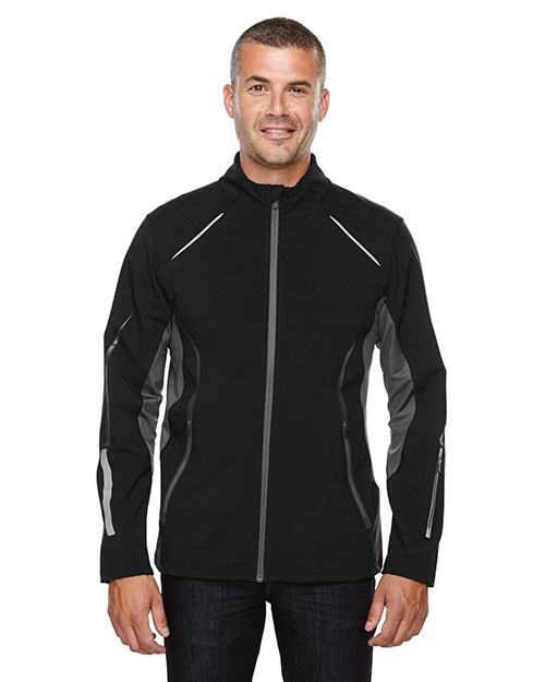 North End 88678 Men Pursuit Three-Layer Light Bonded Hybrid Soft Shell Jacket with Laser Perforation at GotApparel