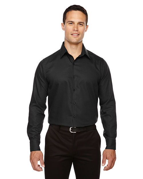 North End 88688 Men Iconic Wrinkle Free TwoPly 80s Cotton Checkered Dobby Twill Taped Shirt at GotApparel
