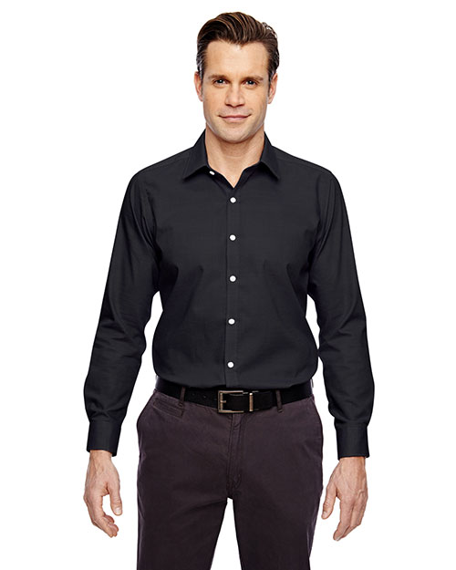 North End 88690 Men Precise Wrinkle-Free Two-Ply 80s Cotton Dobby Taped Shirt at GotApparel