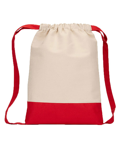 Ultraclub 8876 Unisex Contrast Bottom Cotton Canvas Drawstring Pack at GotApparel
