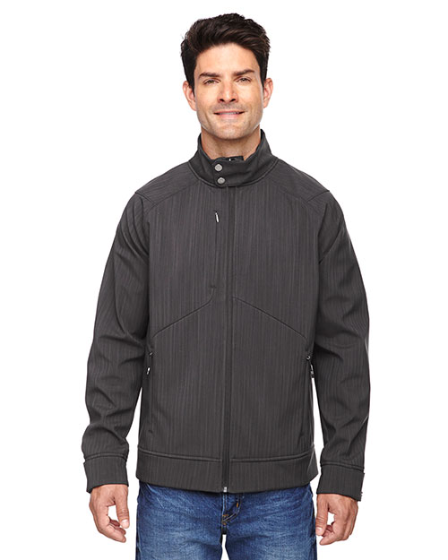 North End 88801 Men Skyscape Three-Layer Textured Two-Tone Soft Shell Jacket at GotApparel