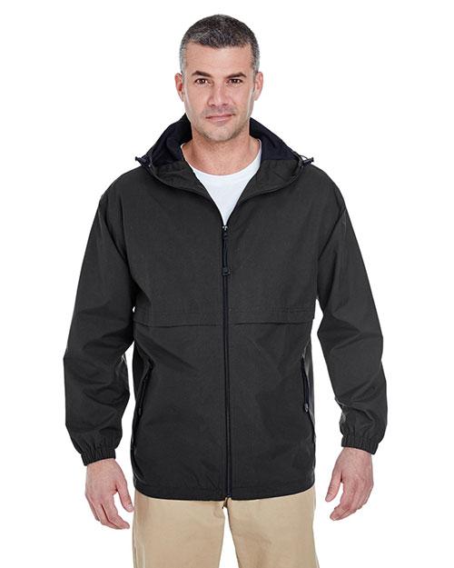 Ultraclub 8908 Men Microfiber Full-Zip Hooded Jacket at GotApparel