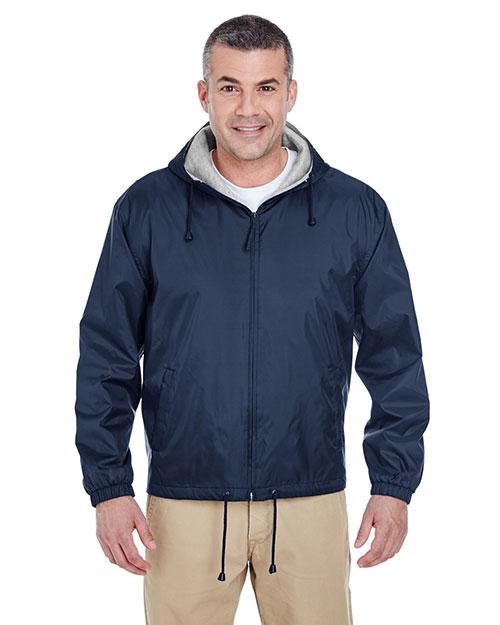 Ultraclub 8915 Men Fleece Lined Hooded Jacket at GotApparel
