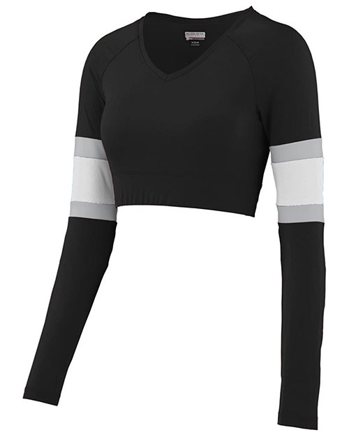 Augusta 9021 Girls Double Down Long Sleeve V-Neck Cheer Liner at GotApparel