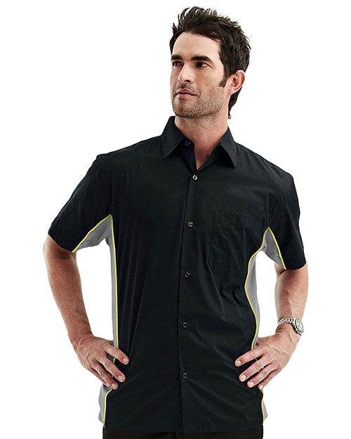 Tmr 926 Men Gt3 Contrast Pannels Short-Sleeve Woven Shirt at GotApparel