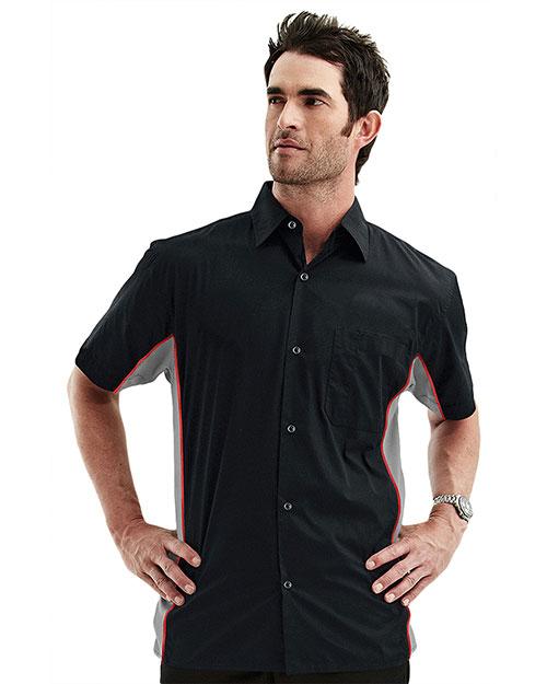Tmr 926 Men Gt3 Contrast Pannels Short-Sleeve Woven Shirt at GotApparel