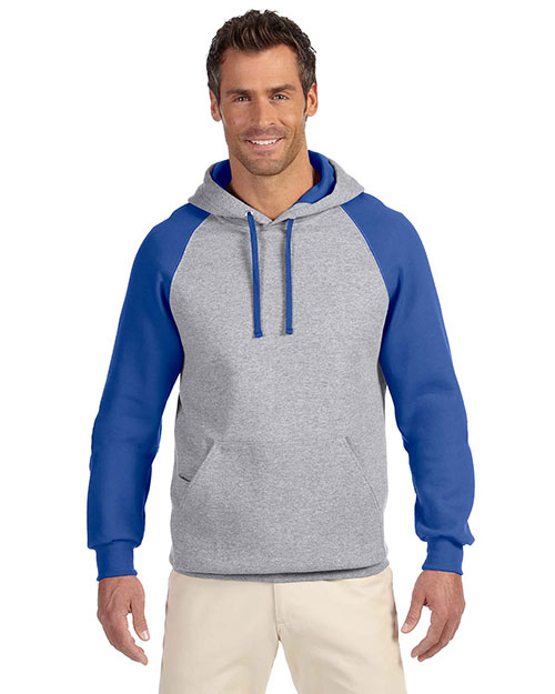 Jerzees 96CR Men 50/50 Nublend Colorblock Raglan Pullover Hood at GotApparel