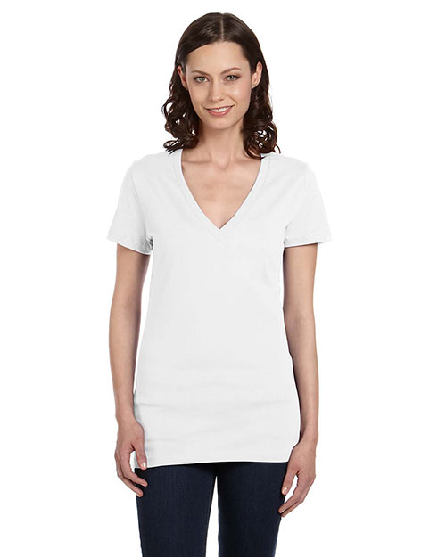 Bella + Canvas B6035 Women Jersey Short-Sleeve Deep V-Neck T-Shirt at GotApparel