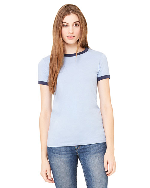 Bella + Canvas B6050 Women Jersey Short-Sleeve Ringer T-Shirt at GotApparel
