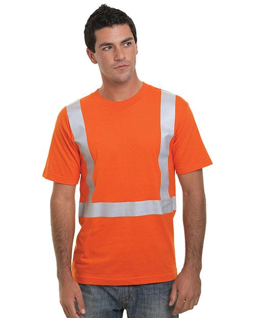 Bayside BA3751 Men Hi-Visibility 100% Cotton Crew Solid Striping T-Shirt at GotApparel