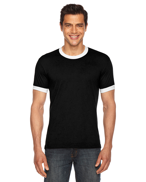 Custom Embroidered American Apparel BB410W Men 3.6 oz Poly-Cotton Short-Sleeve Ringer T-Shirt at GotApparel