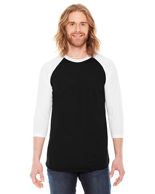 Custom Embroidered American Apparel BB453W Men 3.6 oz Poly Cotton 3/4-Sleeve Raglan T-Shirt at GotApparel