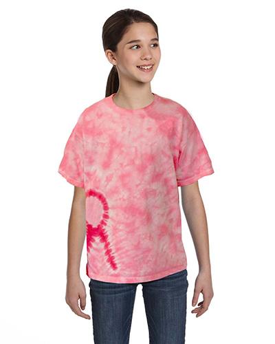 Tie-Dye CD1150Y Pink Ribbon T-Shirt at GotApparel