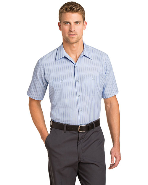 Red Kap CS20 Men Short-Sleeve Striped Industrial Work Shirt at GotApparel