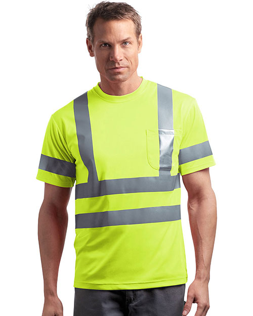Cornerstone CS408 Men Ansi 107 Class 3 Short-Sleeve Snag-Resistant Reflective T-Shirt at GotApparel