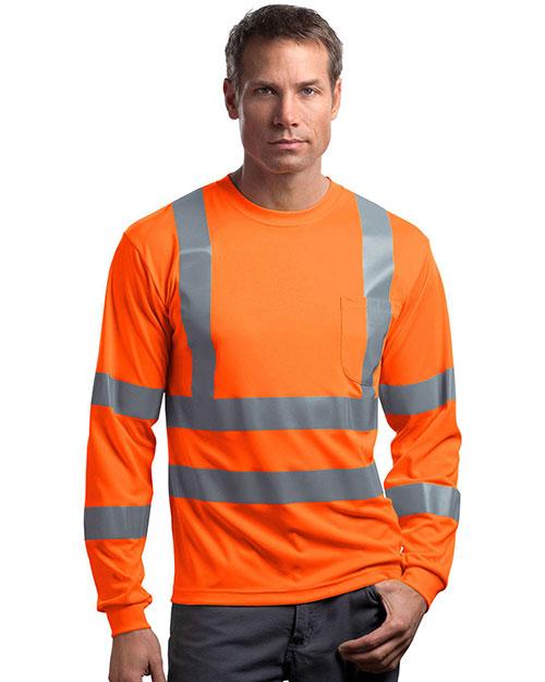 Cornerstone CS409 Men Ansi 107 Class 3 Long-Sleeve Snag-Resistant Reflective T-Shirt at GotApparel