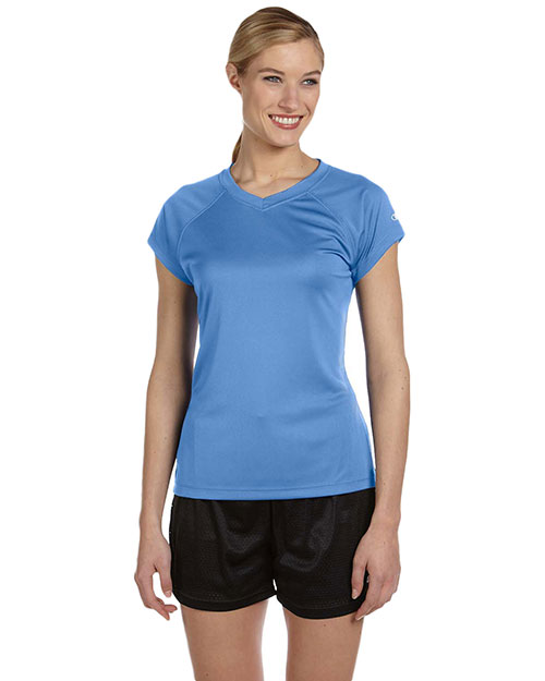 Custom Embroidered Champion CW23 Women Double Dry 4.1 Oz. V-Neck T-Shirt at GotApparel