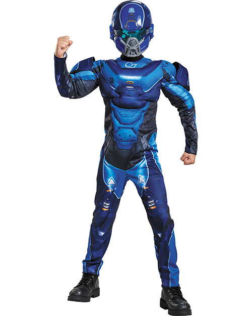 Halloween Costumes DG97546K Boys Blue Spartan Muscle Child 7-8 at GotApparel