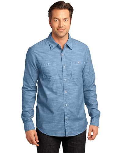 District Made DM3800 Men Long-Sleeve Washed Woven Shirt at GotApparel