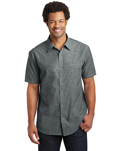 District Made DM3810 Men Short-Sleeve Washed Woven Shirt at GotApparel
