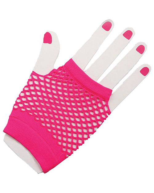 Halloween Costumes FM63019 Unisex Gloves Fingerless Fishnet Pink at GotApparel
