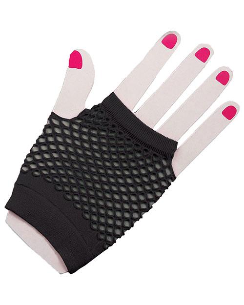 Halloween Costumes FM63022 Unisex Gloves Fingerles Fishnet Black at GotApparel