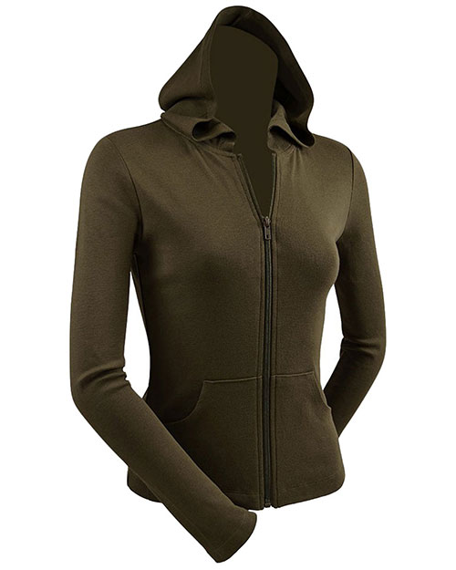 Junior Long Sleeve Zip Hoodie With Pouch at GotApparel