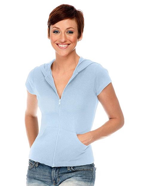 Junior Short Sleeve Zip Hoodie at GotApparel