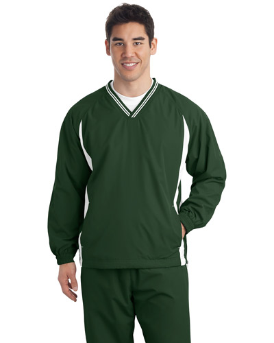 Sport-Tek® TJST62 Men Tall Tipped V-Neck Raglan Wind Shirt at GotApparel