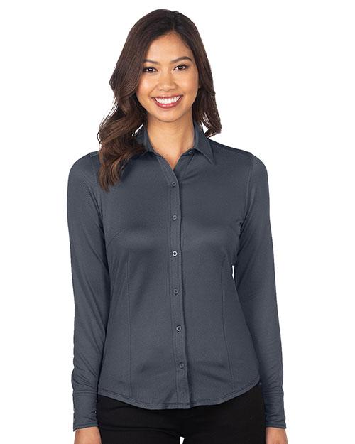 Tri-Mountain KL519 Women Knit Jacquard Button-Down Shirt at GotApparel