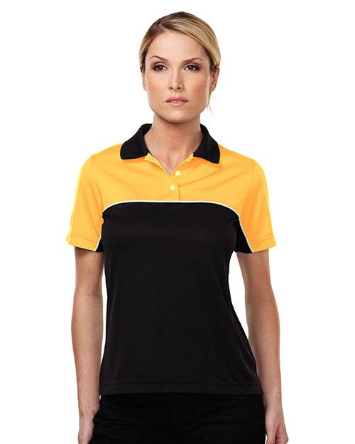 Tmr KL908 Women Double Clutch Color Blocking Short-Sleeve Polo Shirt at GotApparel