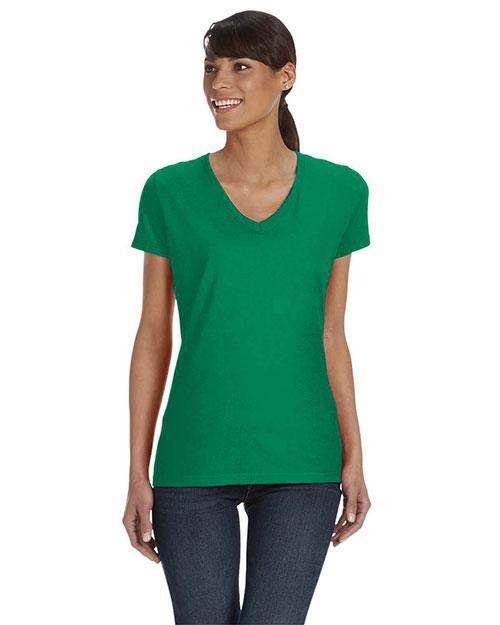 Fruit Of The Loom L39VR Women 5 Oz. 100% Heavy Cotton HD V-Neck T-Shirt at GotApparel