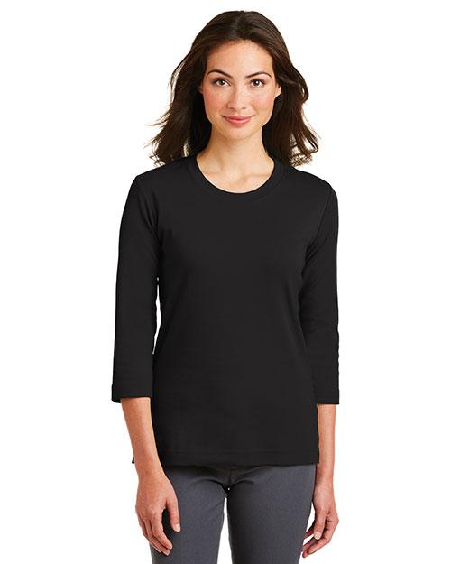 Port Authority L517 Women Cotton 3/4-Sleeve Scoop Neck Shirt at GotApparel